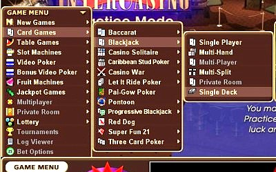 Location of the single deck blackjack game at Intercasino