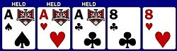 As, Ah, Ac, 8c, 8h. Hold the three aces