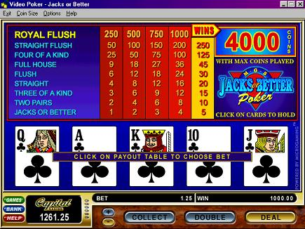 video poker 100 play free