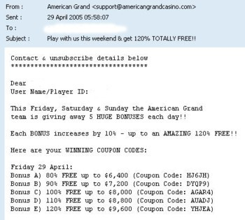 American Grand promotional email invitation