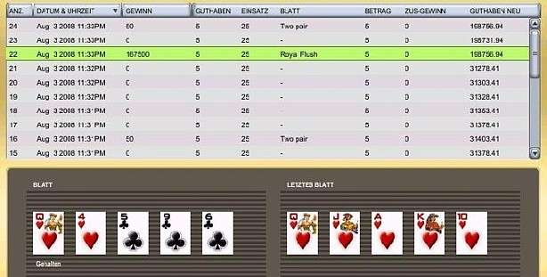 progressive royal flush shown in gamelogs