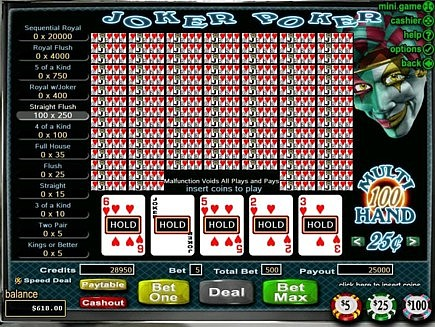 iNetbet joker poker pat straight flush