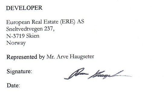 forged signature of Arve Haugseter