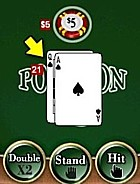 A pontoon with the double, stand and hit buttons