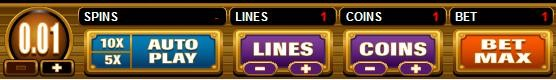 slot bet size, number of lines and coins set to minimum