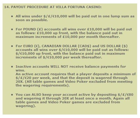 Villa Fortune Terms