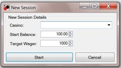 Wager tracker start screen
